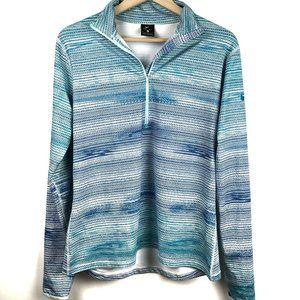 Nike Dri-Fit Pullover XL Blue White Print Half Zip
